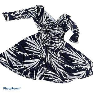 NIEMAN MARCUS blue white print wrap twirl dress